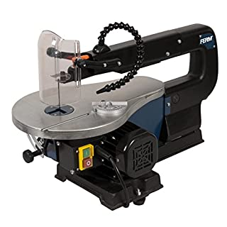 FERM Scroll Saw - Fret Saw - 90W - Adjustable Working Table (0-45 degrees) - With 10 Sawblades and Dust Blowing System - For Wood, Plastics and Non-Ferrous Metal