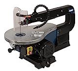 FERM Dekupiersäge 90W - Verstellbarer Arbeitstisch (0-45 Grad) - Parallel- und Gehrungsführung - Mit 10 Sägeblätter und Staubblassystem- Für Holz, Kunststoff und Nichteisenmetalle