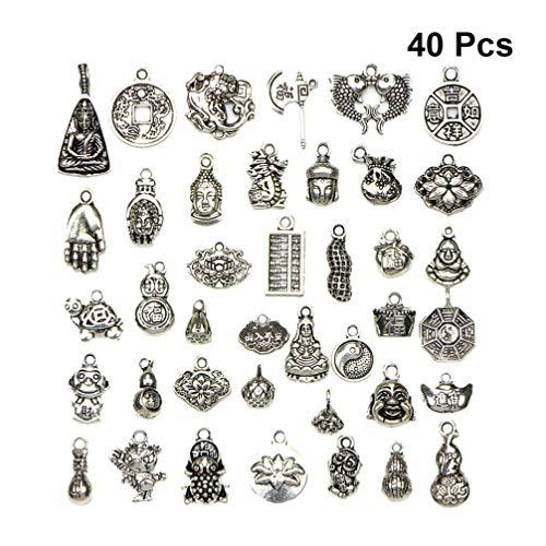 HEALLILY antike Silber tibetischen Charme Anhänger Reize chinesische günstige Elemente DIY Schmuckherstellung Zubehör für Halskette Armband 40pcs