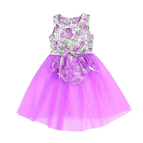 OVINEE 2 STÜCKE Neugeborenen Kleinkind Babyspielanzug Infant Girls Print Overall Kleidung Outfit Anzug Floral Tutu Kleid Rock