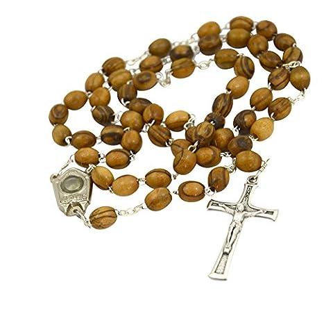 prière en bois d'olivier Chapelet Crucifix Collier avec Jordan River Eau–Certifié authentique