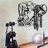 pegatina de pared frases Gimnasio Etiqueta Fitness Cadena de hierro Dumbbell Applique Living Home Decor