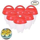 X-Mile 6 Eier Kochen Ohne Schale - Eier Eierkocher Antihaftbeschichtetes Silikon Egglettes Maker BPA-frei Eierbecher - Rot Weiss