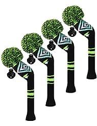 Scott Edward Housses de tête de club de golf hybride/utilitaires, 4 pièces emballées, motif abstrait, fil Acrylique Double-layers en tricot, avec rotatif Nombre balises, 4 couleurs en option, bleu