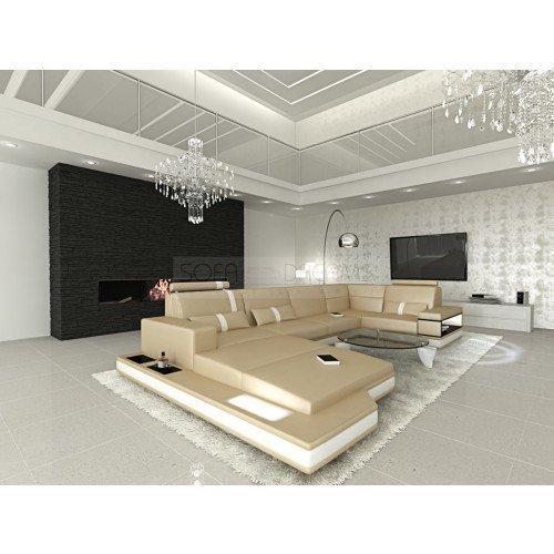 Mega Intérieur de la maison Messana forme U beige sable - Blanc Canapé Canapé d'angle