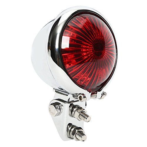 CICMOD Chrome Motorrad Custom LED Rot Linse Rückseite Einstellbare Schwanz Bremse Stop Light Lampe für Cafe Racer Chopper Bobber - Stop-lampe Linse