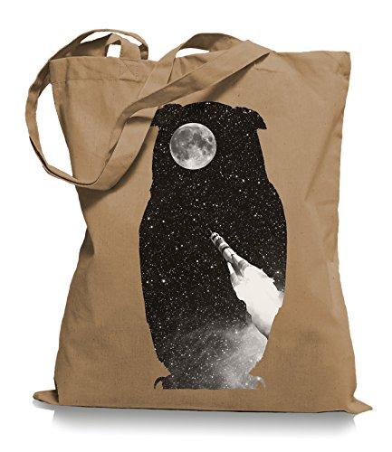 Ma2ca® Rocket Owl - Eulen - Jutebeutel Stoffbeutel Tragetasche / Bag WM101 Caramell