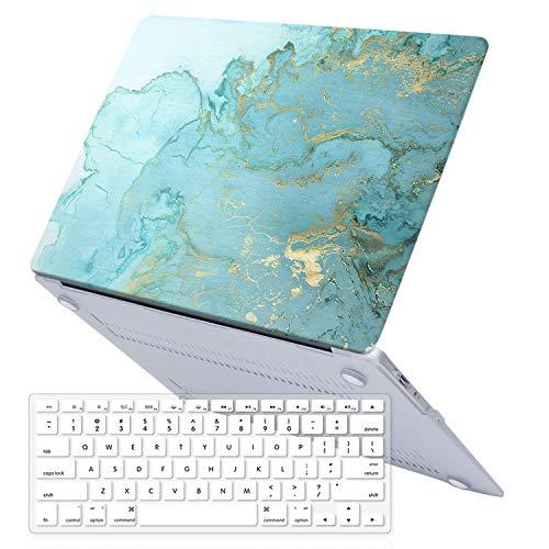 Sumplee MacBook Pro 15 Hülle 2012/2011/2010 Release A1286, Kunststoff Anti-Kratzer Hartschalen-Schutzhülle mit Tastatur-Abdeckung kompatibel für MacBook Pro 15 Zoll (38,1 cm) CD-ROM Blue-Gold Marble (Mac Book Pro, Untere Abdeckung)