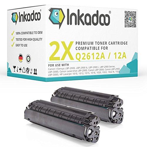 Inkadoo Toner kompatibel für Canon LBP-2900, 3000, HP Laserjet 1010, HP Laserjet 1018, HP Laserjet 1020, HP Laserjet 3030 ersetzt Canon 703 - Premium Drucker-Kartusche Schwarz – 2X 2000 Seiten
