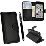 FOR APPLE IPHONE 4 4S VARIOUS PU LEATHER MAGNETIC FLIP CASE COVER POUCH + FREE STYLUS (Ultra Slim Smart Thin Black)