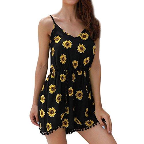 VEMOW Sommer Elegant Damen Jumpsuit Mode Sonnenblume Camisole beiläufige tägliche Partei Strand lose bodycon ärmellose Overall Playsuit Rompers (Schwarz, EU-40/CN-S)