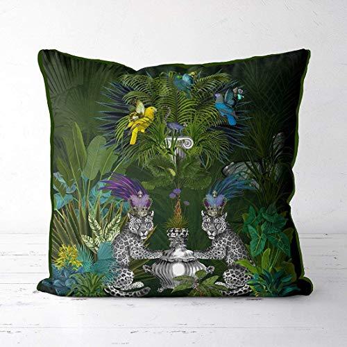 akingstore Tropisches Dekokissen - Blaue Lemur Leopardenmuster Dschungel Design Palme Pflanzen Design Papageienkissen Tropisches Kissen Grünes Akzent Kissen Designer Kissen -