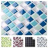 Grandora 4er Set 25,3 x 25,3 cm blau türkis Silber Fliesenaufkleber Design 2 I 3D Fliesendekor Küche Bad Aufkleber Wandaufkleber Wandsticker Sticker W5193