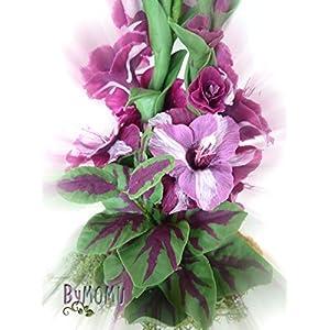Flores de Porcelana Rusa Miniatura Gladiolos Morados Home Decor regalo – HAND MADE