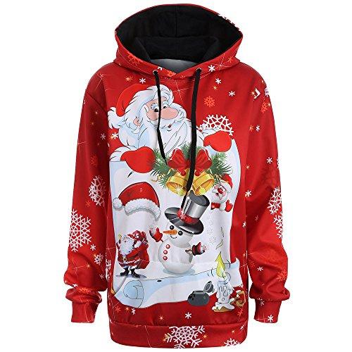 SEWORLD Damen Herbst Frauen Kapuzen Weihnachten Kürbis Tasche Kordelzug Printed Hoodie Clubbing Bar Grill Party Sweatshirt Tops(X8-blau,EU-36/CN-M)