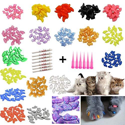 JOYJULY 100pcs Weiche Haustier Katze Kätzchen Klaue Nagel Abdeckungen Kappen steuern Weiche Tatze von 5 Verschiedene Farben Random+5 Klebstoff Kleber, Größe S