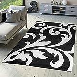 T&T Design Designer Teppich Wohnzimmerteppich Levante Modern mit Floral Muster Weiß Schwarz, Größe:160x230 cm