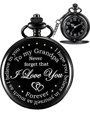Orologio da tasca del nonno regalo del nonno per natale festa del papà, regalo personalizzato per nonno- never forget that, i love you forever (quadrante nero)