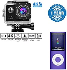 captcha 4K Wifi Sports Action Waterproof Ultra Hd Dv Camera 12Mp 170 Degree Wide Angle with 4Th Gen Mp4 Player, Compatible with All Smartphones