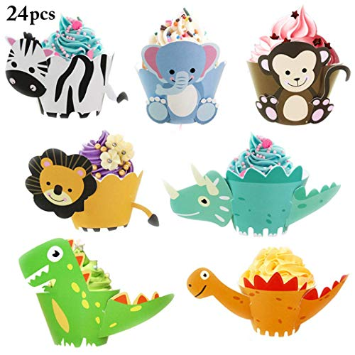 24 Stück Animal Cupcake Wrapper, Cupcake Dekorationen einschließlich Zebra, Löwe, Elefant, Affe und Dinosaurier Cupcake Inhaber, Party Supplies für Kindergeburtstagsfeier