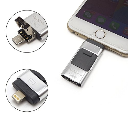 E-MART eMart iPhone USB Flash Drive 32GB i-Flash U-Disk Memory Stick Pen Drive for iPhone amp; iPad, Android Cell Phone and Computer - (32GB, Silver)