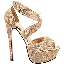 Elara Plateau Pumps | Party Stiletto High Heels | T-Strap Riemchen Glitzer | chunkyrayan