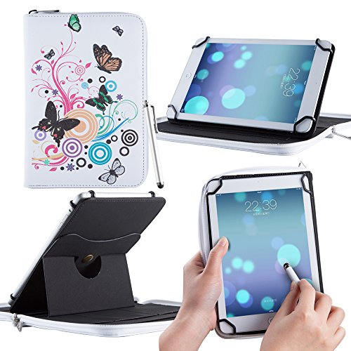 Casezilla Hartschalen Universelle 360 Grad umschließende PU-Lederhülle für Amazon Kindle Fire Hd 7 - Rainbow Butterfly Swirl (Kids Fire Hd 7 Screen Protector)