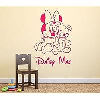 Bébé Minnie Mouse et Ours en Peluche Filles Personnalisé Prénom Art Mural Autocollant