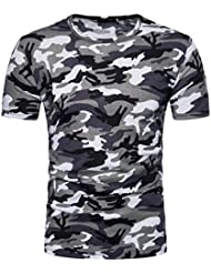 ❤️Tops Blouse Homme T-shirt, Amlaiworld Hommes Occasionnels Impression Camouflage Tops Pull col O Blouse Chemisier T-Shirt