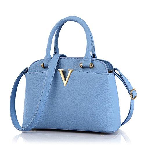 fanhappygo Fashion Retro Leder Abendtaschen Damen Schulterbeutel Umhängetaschen Schulterkurier totes blau