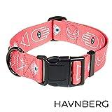 HAVNBERG Hundehalsband Gr. L Halsumfang 41,0cm – 66,0cm, breites Halsband für große und mittelgroße Hunde, Breite 3,8cm, lachs, Aztek