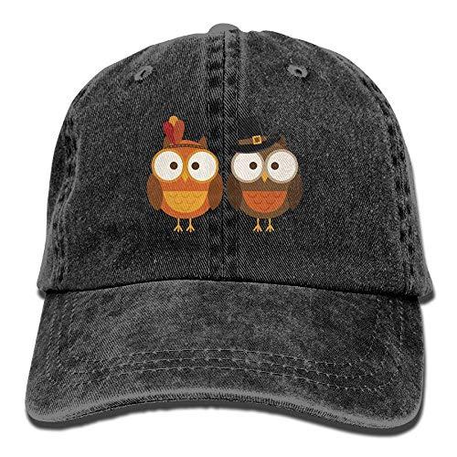 Hoklcvd Unisex Thanksgiving Owl Classic Washed gefärbte Baumwolle Volltonfarbe...