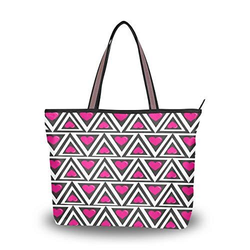 Herz Tote Handtasche (Emoya Fashion Damen Handtasche Geometrische Dreiecke Herzen oben Griff Casual Tote Schultertasche Arbeitstasche Casual Bag L, Mehrfarbig - multi - Größe: Large)