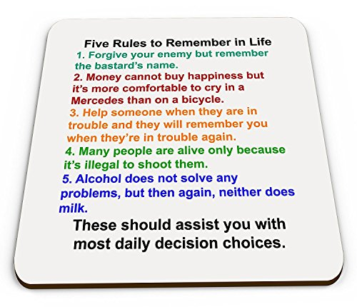"""Five Rules To Remember in Life"" Lustiger Tassenuntersetzer mit englischsprachigen Scherzen"