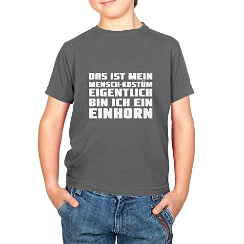 Neun Menschen Kostüm - NERDO Jungen Karneval Fasching Das ist Mein Mensch-Kostüm T-Shirt, Grau, 9-11 Jahre-140 (L)