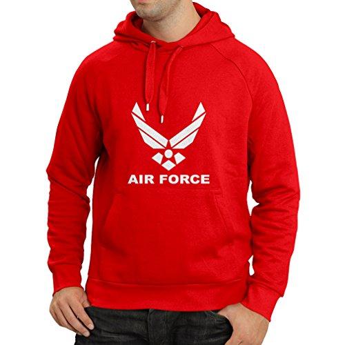 lepni.me Felpa con Cappuccio United States Air Force (USAF) - U. S. Army, USA Armed Forces (Small Rosso Bianco)