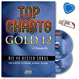Top Charts Gold 12 - 40 besten Songs für Klavier, Keyboard, Gitarre und Gesang - Songbook mit 2 CDs, USB-Stick und bunter herzförmiger Notenklammer