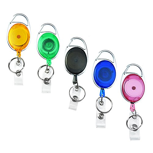 Einziehbare Karabiner Ausweis JOJO Mit Schlüsselring und Abzeichen Riemen für ID- Auswei-Inhaber, Schlüssel und Karten, 5 Stück