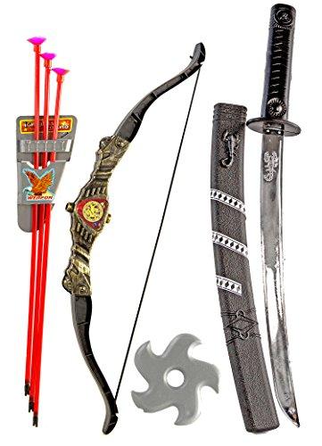 Ninja Set Samurai Assassin Kostüm Katana Schwert Sebel Kinder Spielzeug Karneval Fasching Halloween
