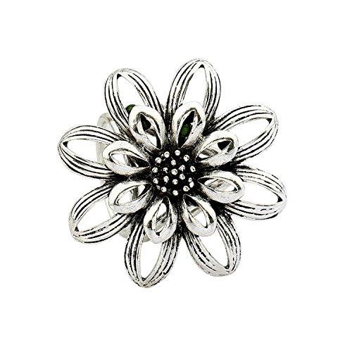 Pinzhi Damen Designer elegant Blumen Schal Clip Classic Seide Schal Ringe