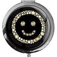 """metALUm - Extragroße Pillendose in runder Form""""Smiley in Gold"""" preisvergleich bei billige-tabletten.eu"""