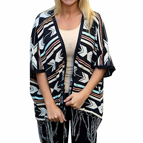 QIYUN.Z Femmes Tassel Boheme Ourlet Batwing 3/4 Manches Imprime Blouses Cardigan Casual Photo Couleur
