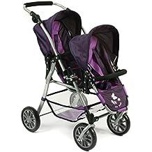 Bayer Chic 200069125–Tandem muñecas Buggy Twinny, ciruela, color lila