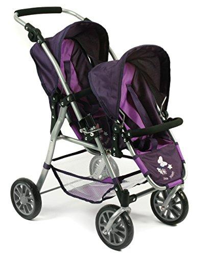 Bayer Chic 2000 nbsp;69125–Tandem muñecas Buggy Twinny, ciruela, color lila