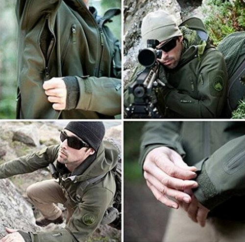 JZWXX Herren Mountain wasserdichte Camouflage jacke Mantel Regenjacke Windjacke Kapuze Tragebeutel Camping Outdoor Jacket MC#DE 04