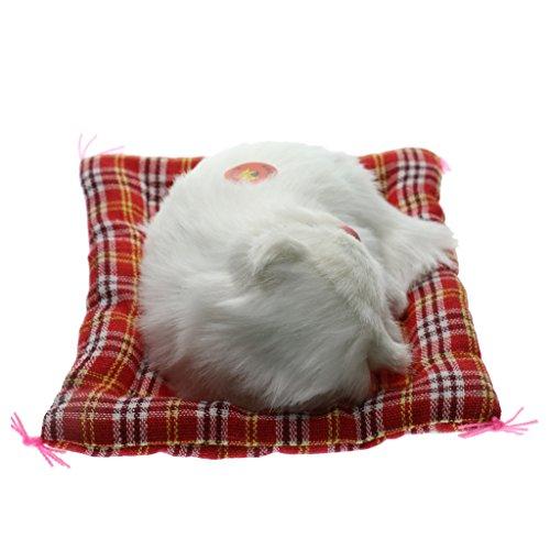 Homyl Miniatur Schlafende Katze Kätzchen Figur mit Meow Ton - Weiß, 13 x 8x 4cm -