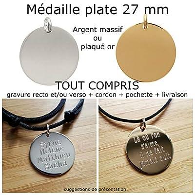 MELI MELOW Pendentif médaille plate 27 mm et gravure de votre choix recto verso en argent massif ou plaqué or - bijou personnalisé gravé made in France MIF