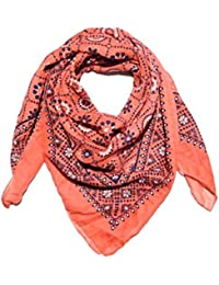 Women's Scarf (White And Blue , Small) Multi Printstars WOMEN'S SCARVES AND WRAPS