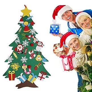 Yalatan Árbol de Navidad de bricolaje para niños, decoración de árbol de Navidad estéreo para niños de fieltro ecológico, suministros de festival de velcro extraíbles de 3.28 pies