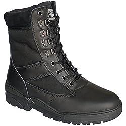 Stivali in pelle nera da combattimento ed esercito tattici per cadetti, militari e polizia